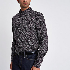 Dark red ditsy long sleeve slim fit shirt