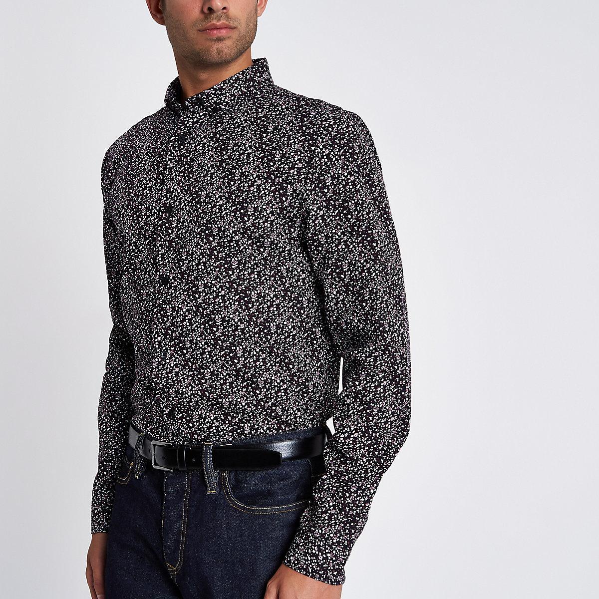 Dark red ditsy long sleeve slim fit shirt