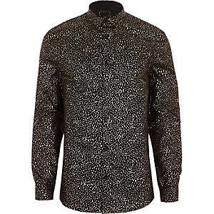 Schwarzes, figurbetontes Hemd mit Metallic-Print