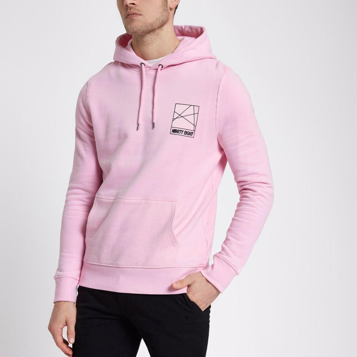 Pink 'ninety eight' print hoodie