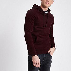 Dark red muscle fit hoodie