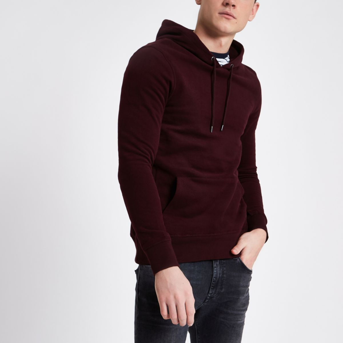 Dark red muscle fit hoodie