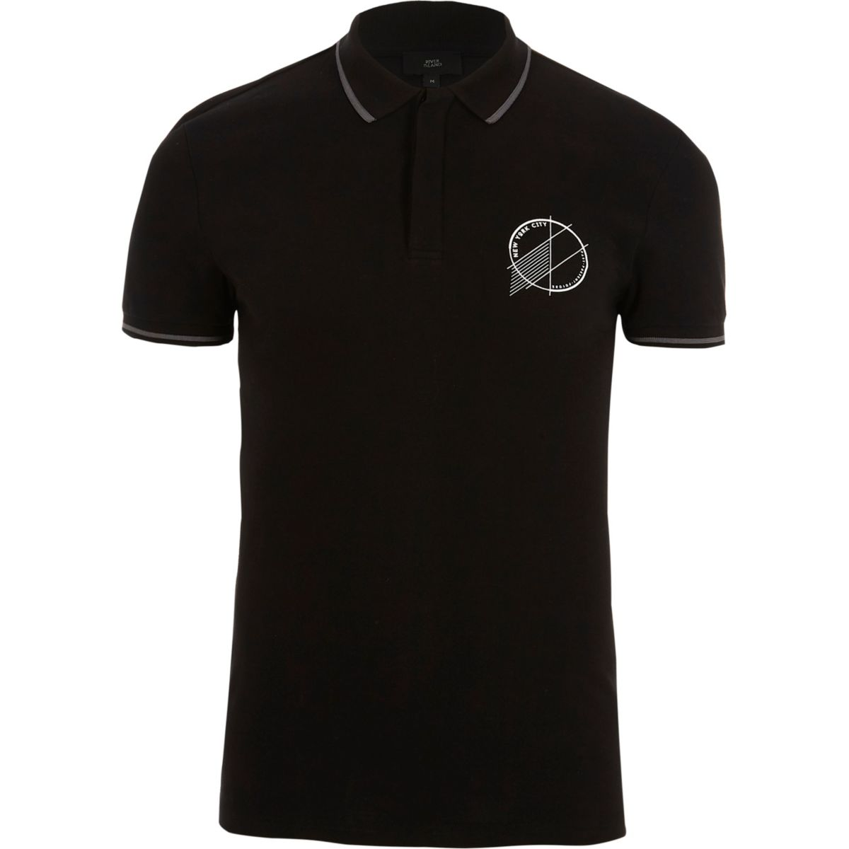 Black 'New York City' muscle fit polo shirt
