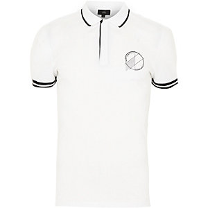 White 'New York' muscle fit polo shirt