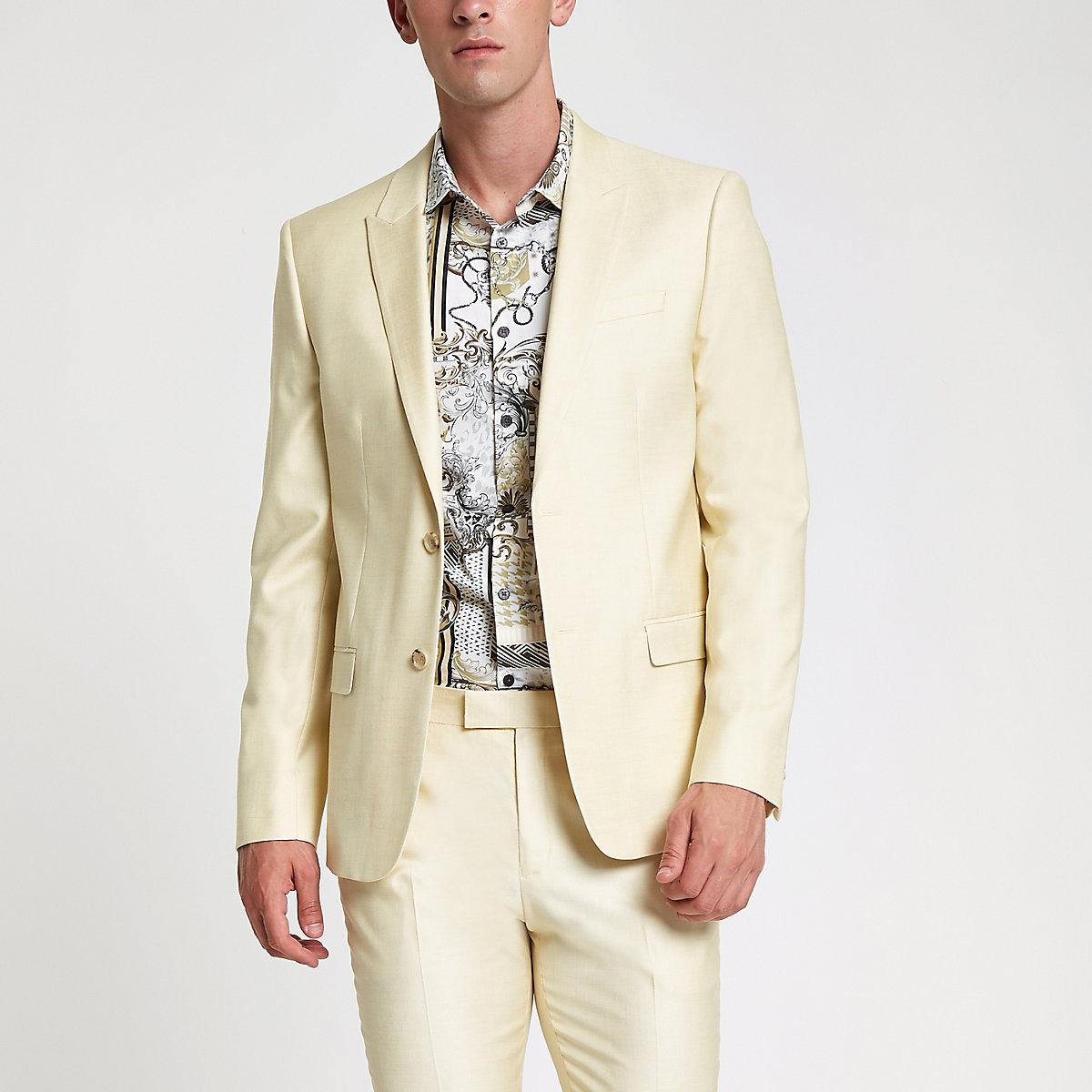 Yellow stretch skinny suit jacket