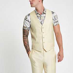 Yellow single-breasted slim fit waistcoat