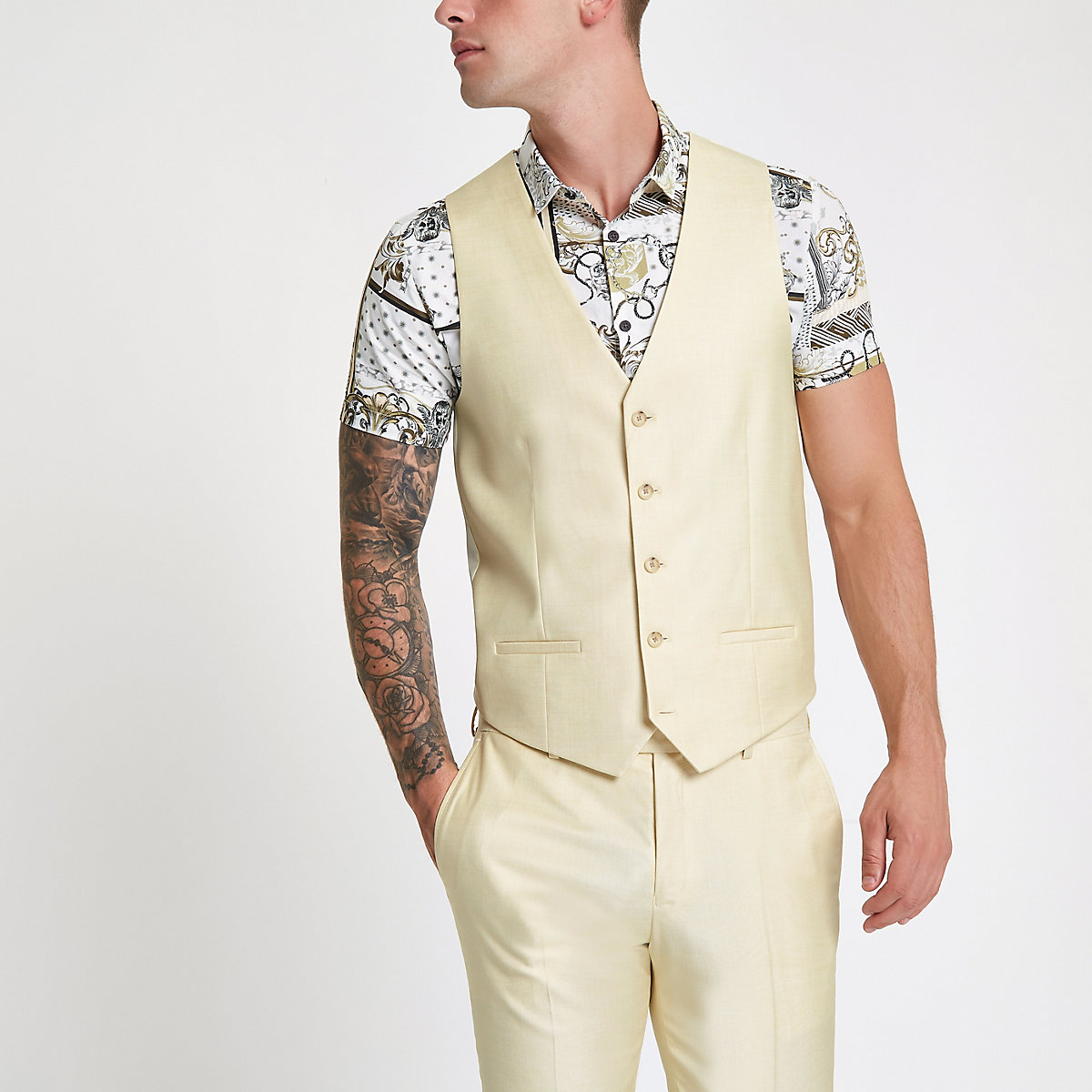 Yellow single-breasted vest
