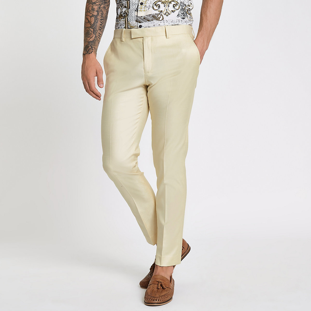 Yellow stretch skinny suit pants