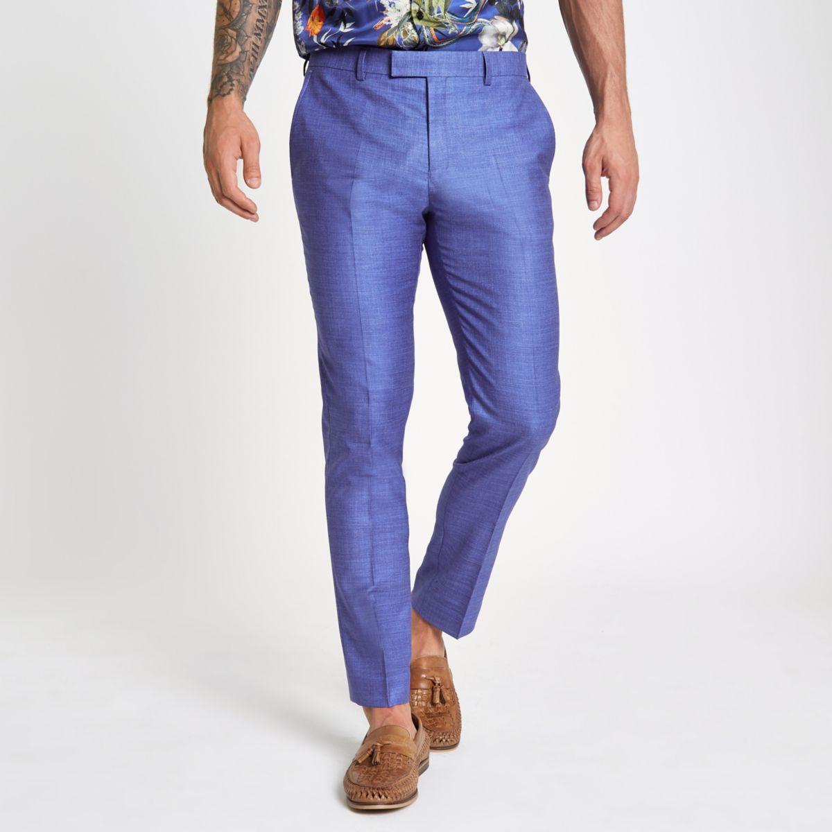 Purple skinny fit suit pants