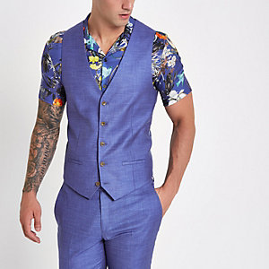 Purple single-breasted waistcoat