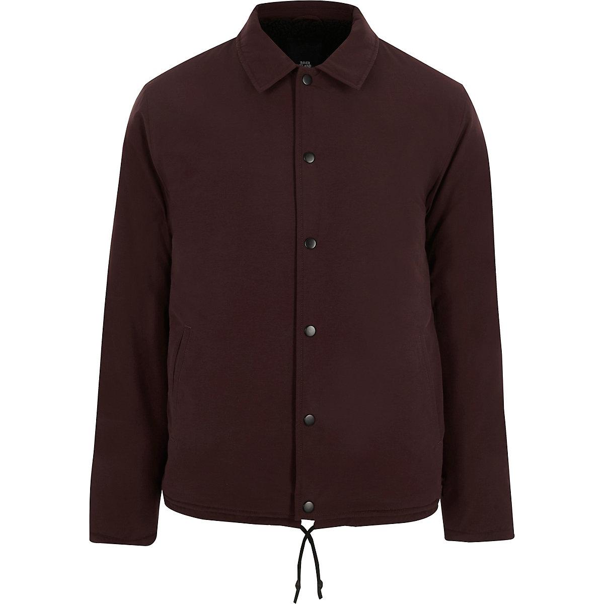 Burgundy fleece lined coach jacket
