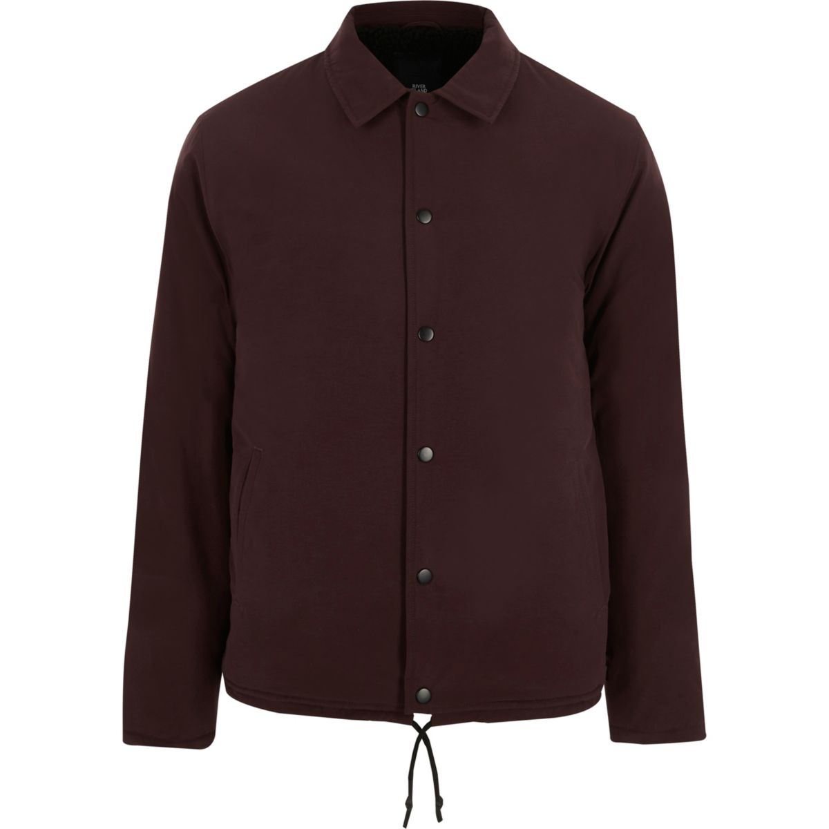 Burgundy Borg Lined Coach Jacket by River Island