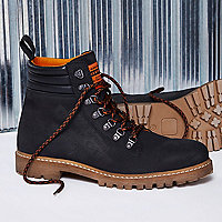 Black Blood Brother leather lace-up boots