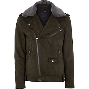 Green faux suede fleece collar biker jacket