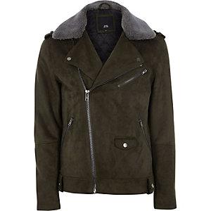 Green faux suede borg collar biker jacket