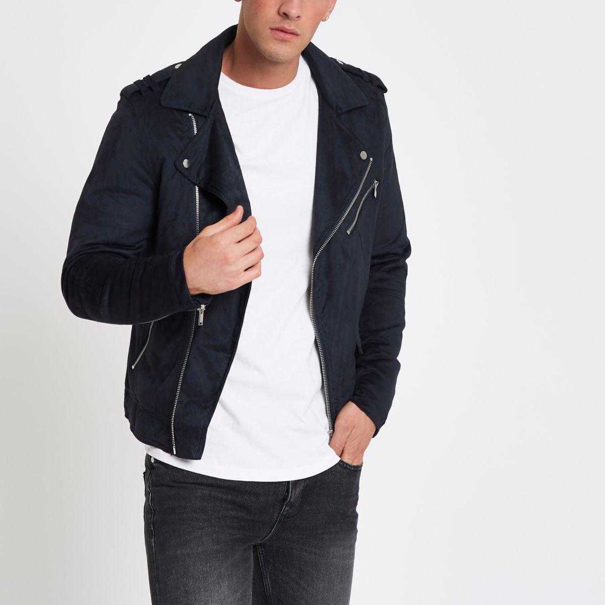 Navy faux suede biker jacket