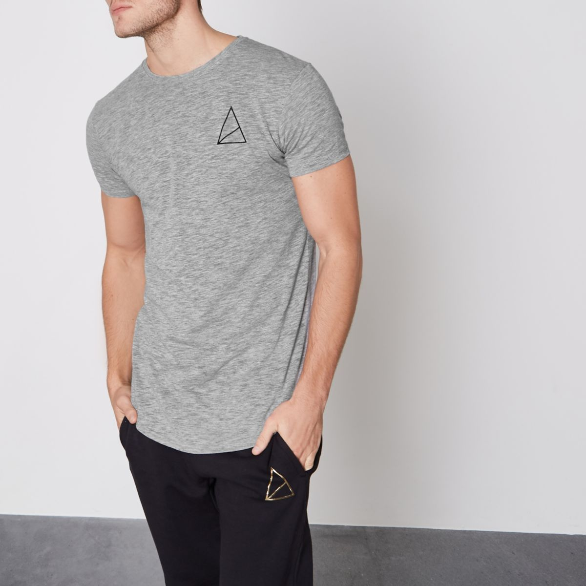 Grey Golden Equation longline T-shirt