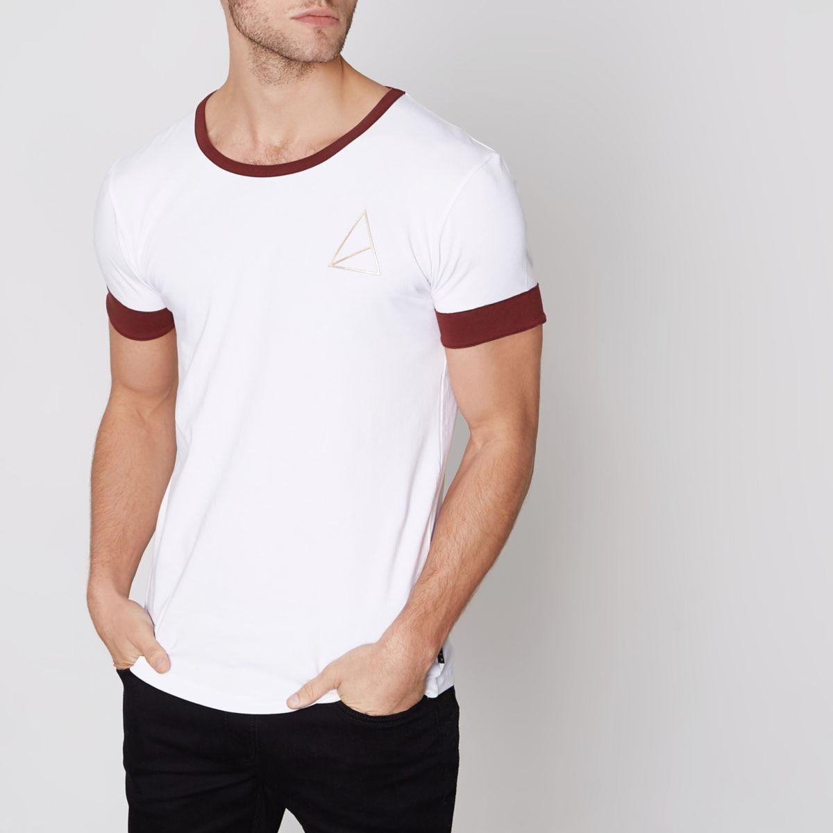 Dark red Golden Equation ringer T-shirt