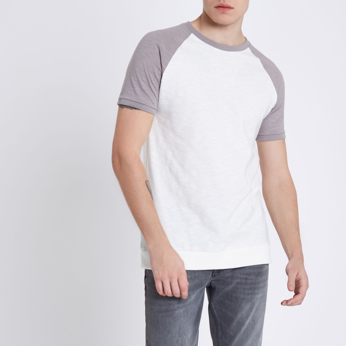 White contrast raglan sleeve slim fit t shirt t shirts for Slim fit white t shirt
