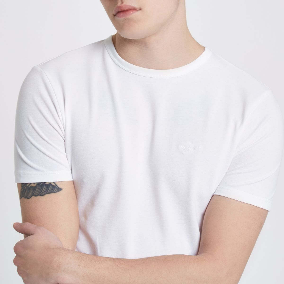 White pique muscle fit crew neck T-shirt