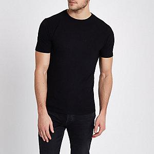 T-shirt ajusté noir en maille piquée