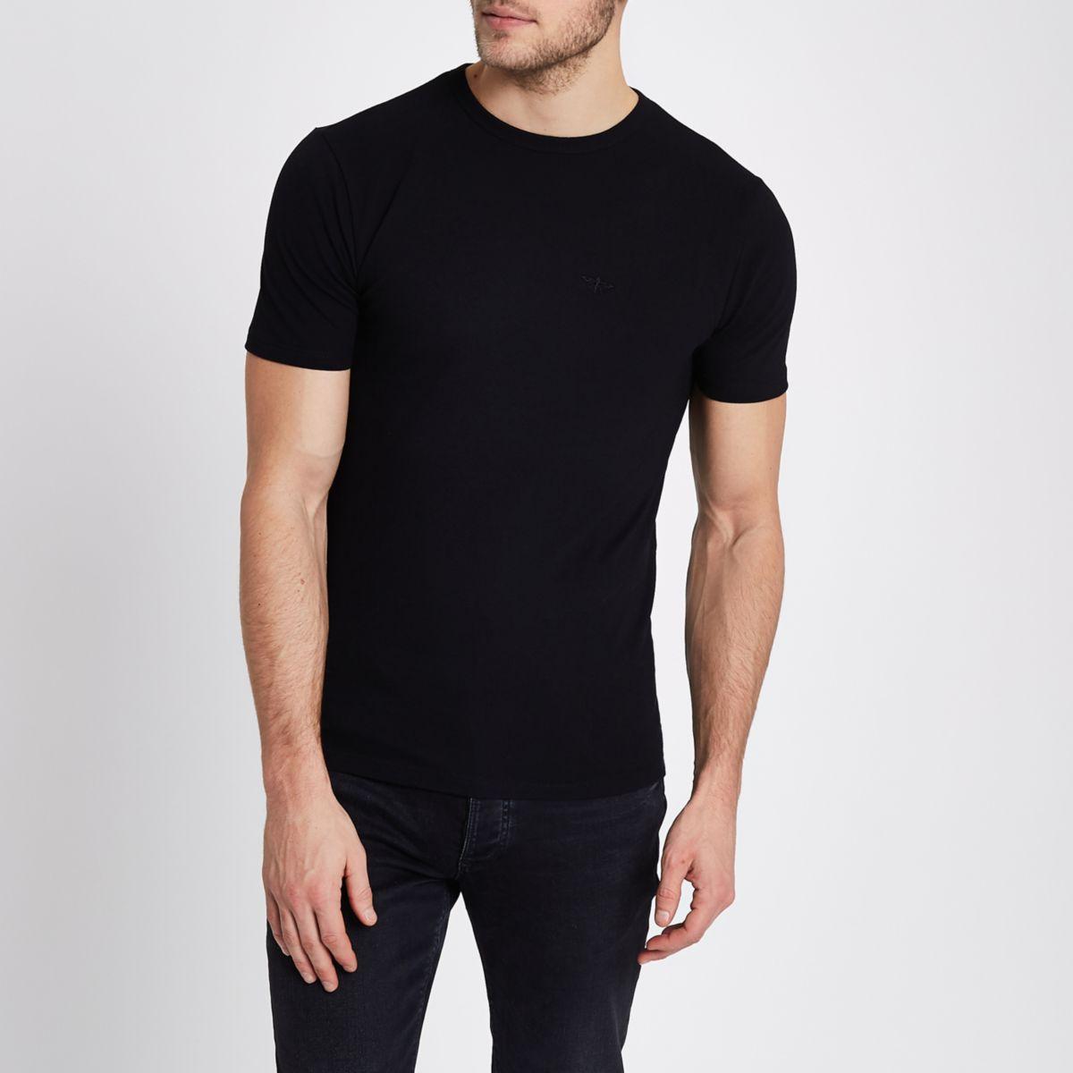 Zwart aansluitend piqué T-shirt