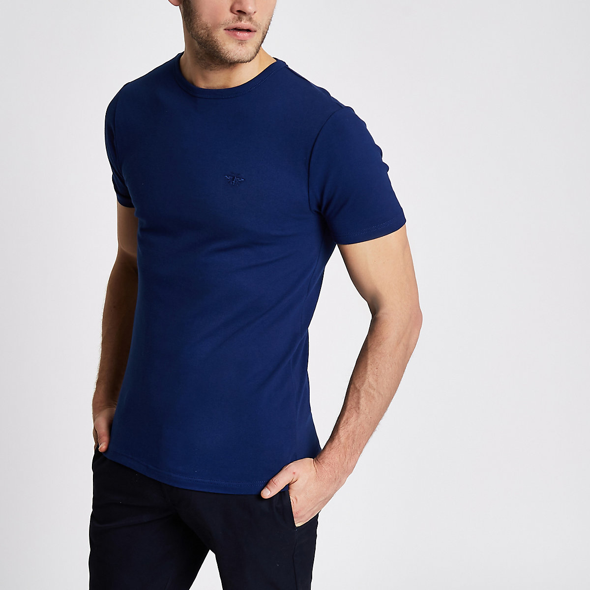 Navy pique muscle fit T-shirt