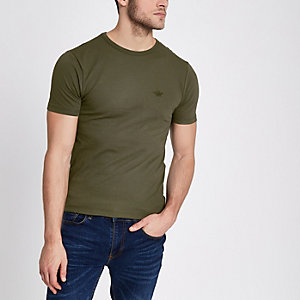 Khaki green pique muscle fit T-shirt