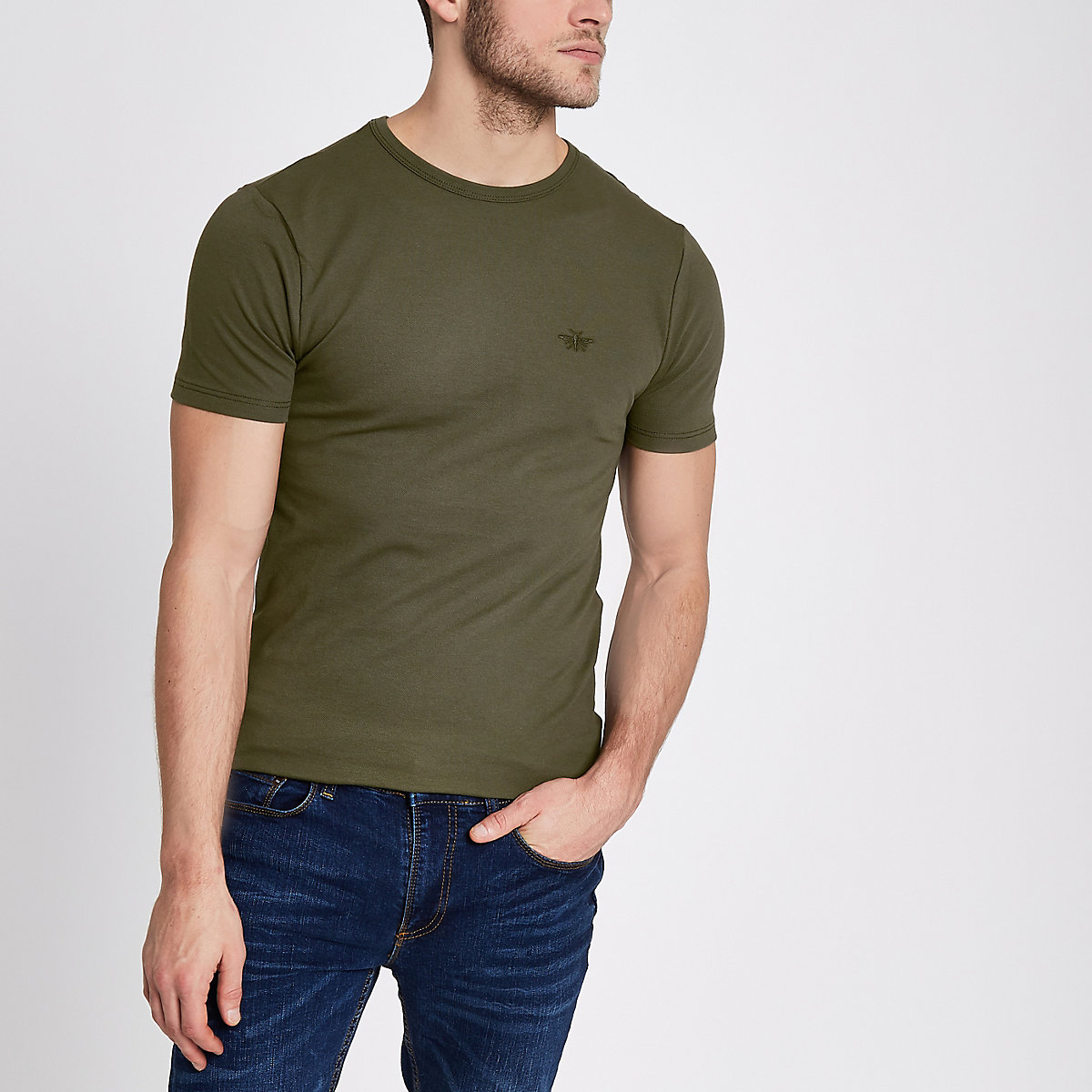 Khaki green pique muscle fit T-shirt