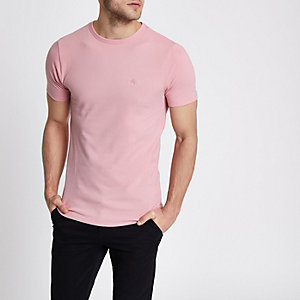 Pink pique muscle fit T-shirt