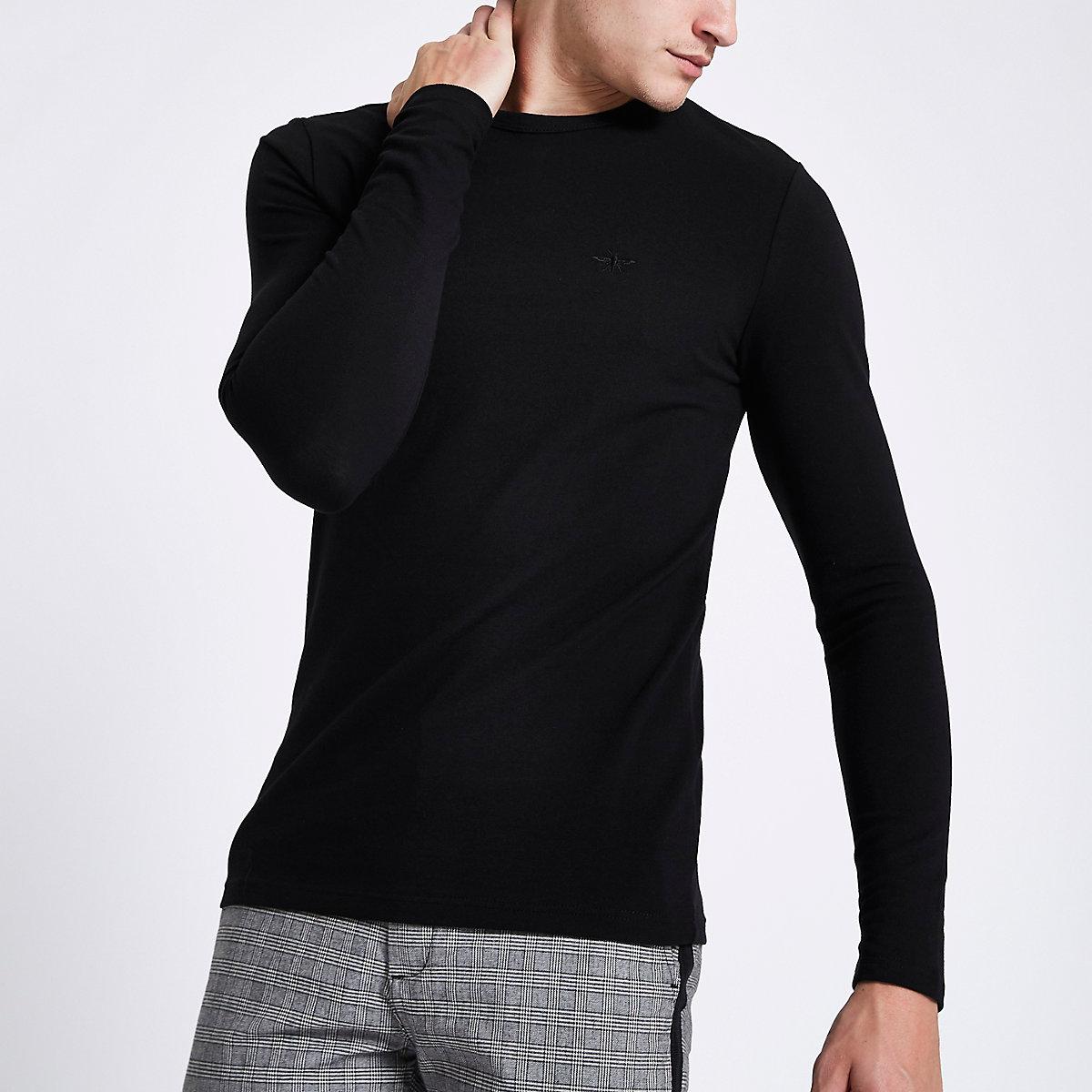 T-shirt ajusté noir à manches longues en maille piquée