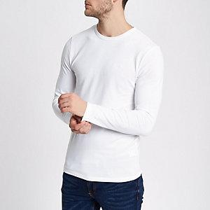 T-shirt ajusté blanc à manches longues en maille piquée