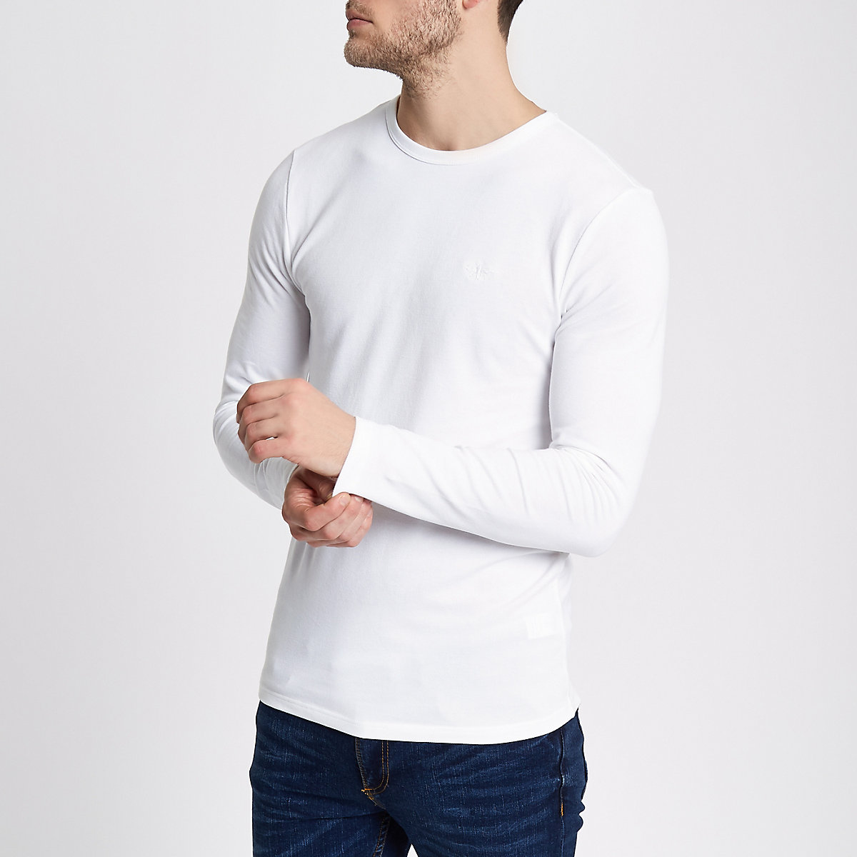 White pique long sleeve muscle fit T-shirt