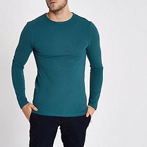T-shirt ajusté bleu sarcelle à manches longues en maille piquée