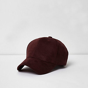 Bordeauxrode baseballpet van imitatiesuède