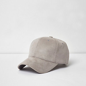 Light grey faux suede baseball cap