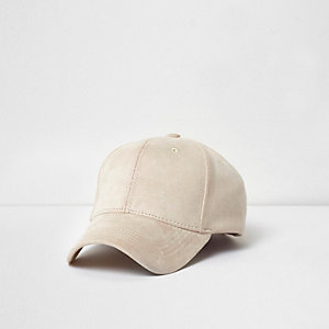 Cream faux suede baseball cap