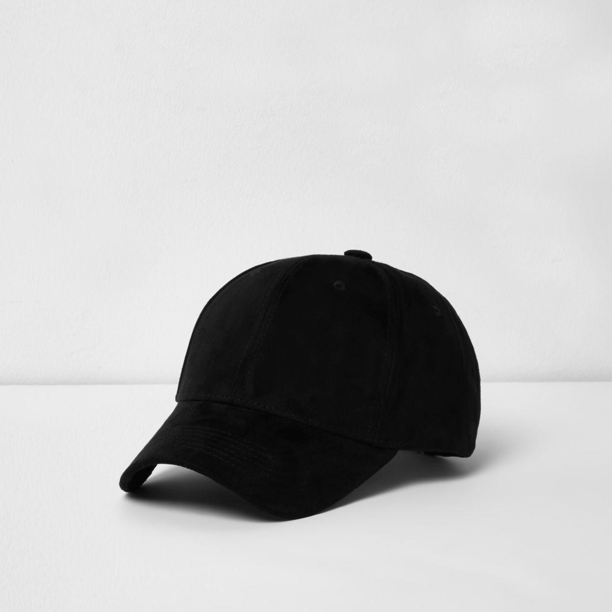 Black faux suede baseball cap