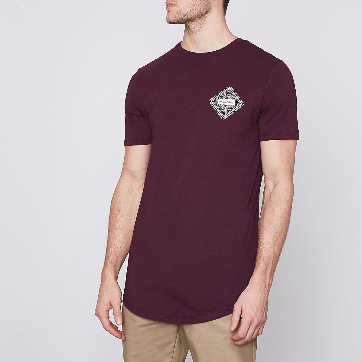 Burgundy 'abstract' print slim fit T-shirt