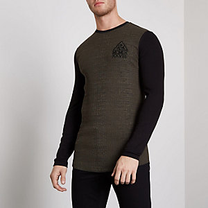 Khaki ribbed muscle fit block sleeve T-shirt