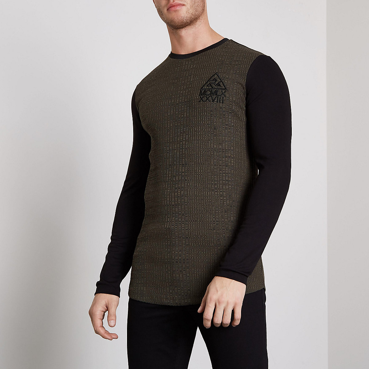 Khaki ribbed muscle fit block sleeve T-shirt
