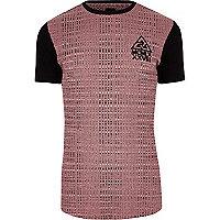 T-shirt long ajusté colour block rose côtelé
