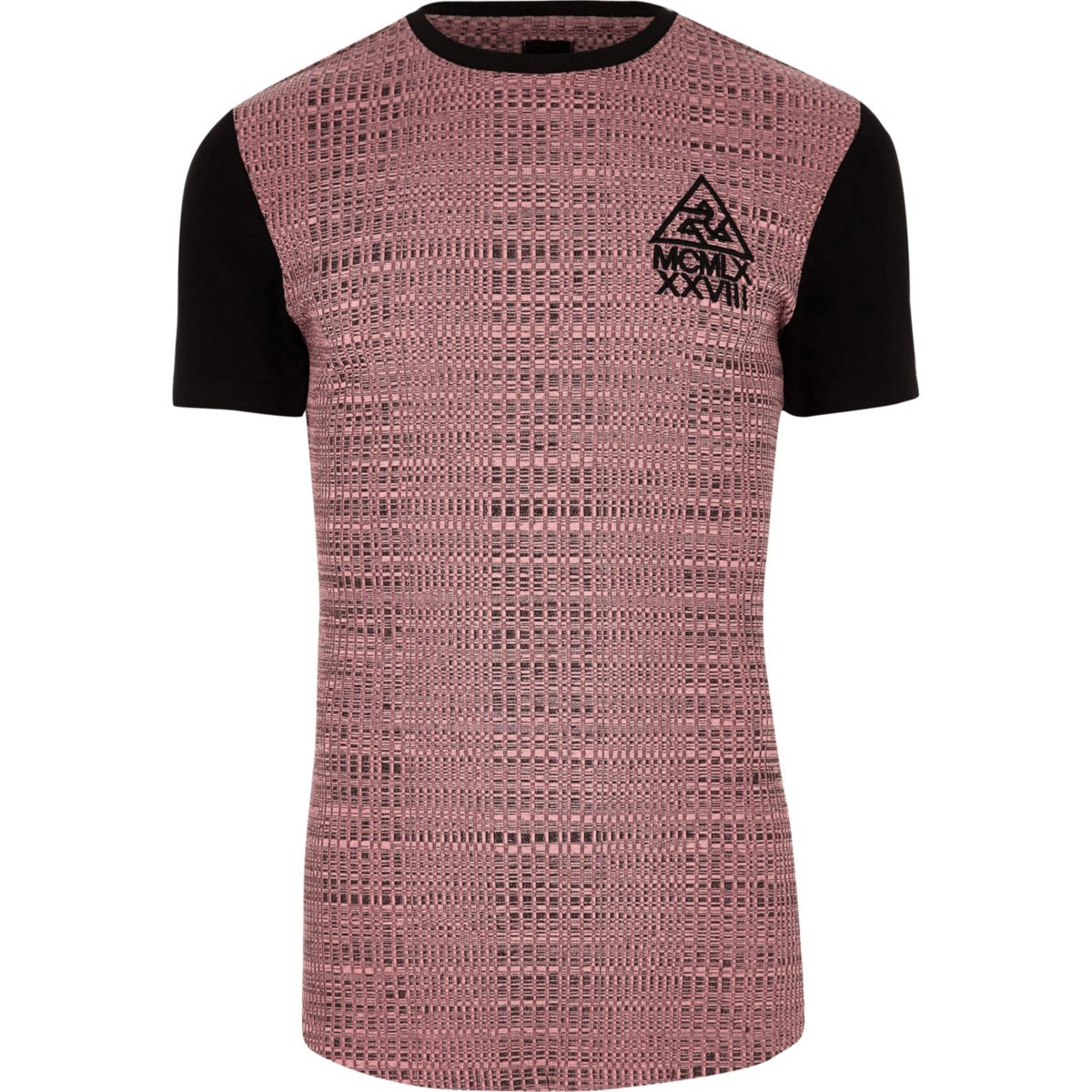 Pink rib muscle fit block longline T-shirt