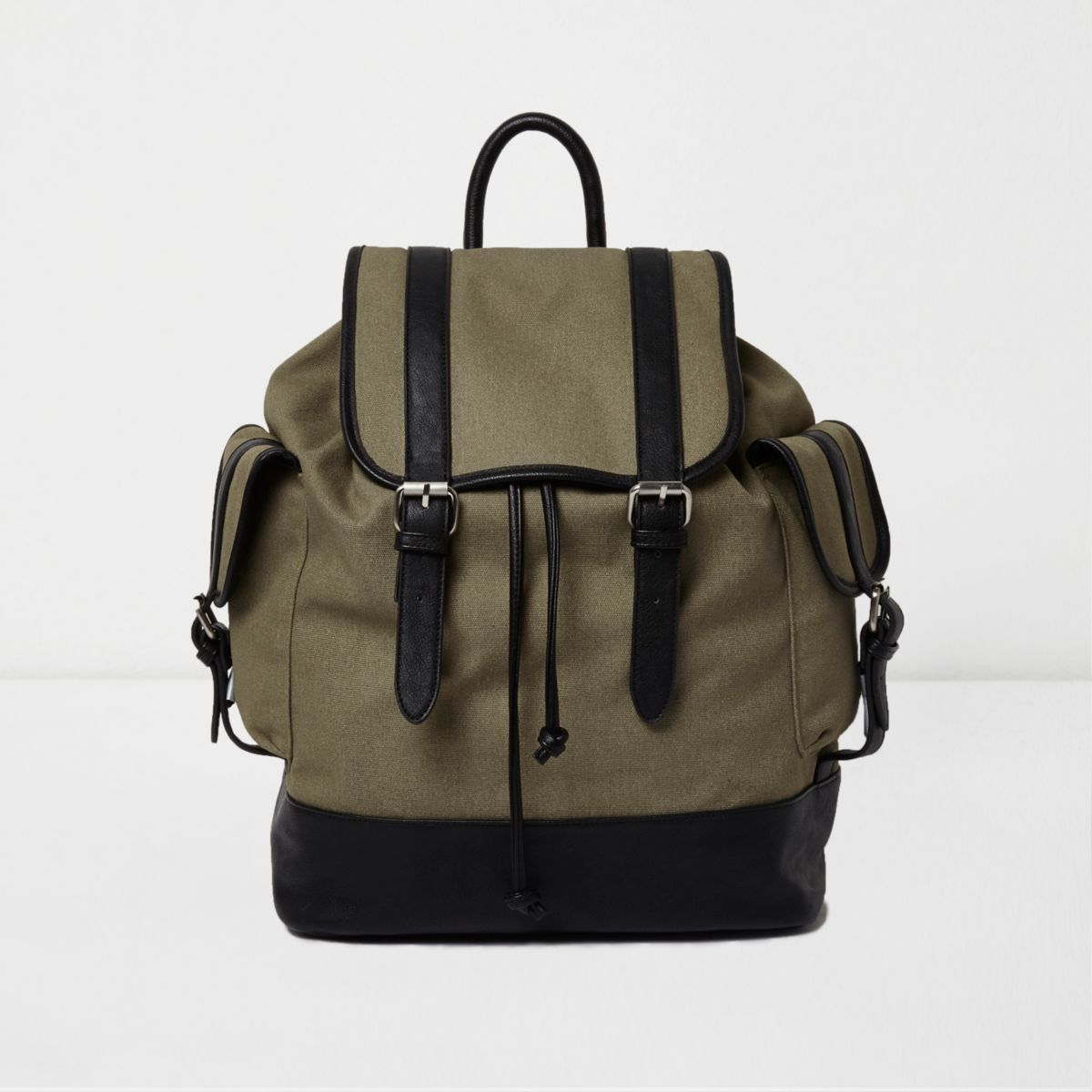Khaki green canvas flap top backpack