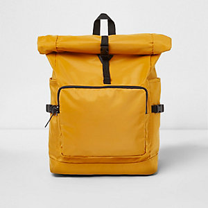 Yellow roll top clip backpack