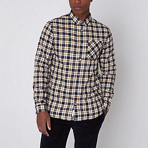 Gelb kariertes Buttondown-Langarmhemd