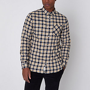 Chemise à carreaux boutonnée manches longues