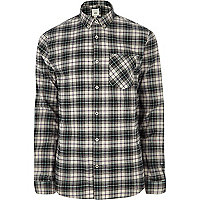 Chemise à carreaux grise avec manches longues et boutons