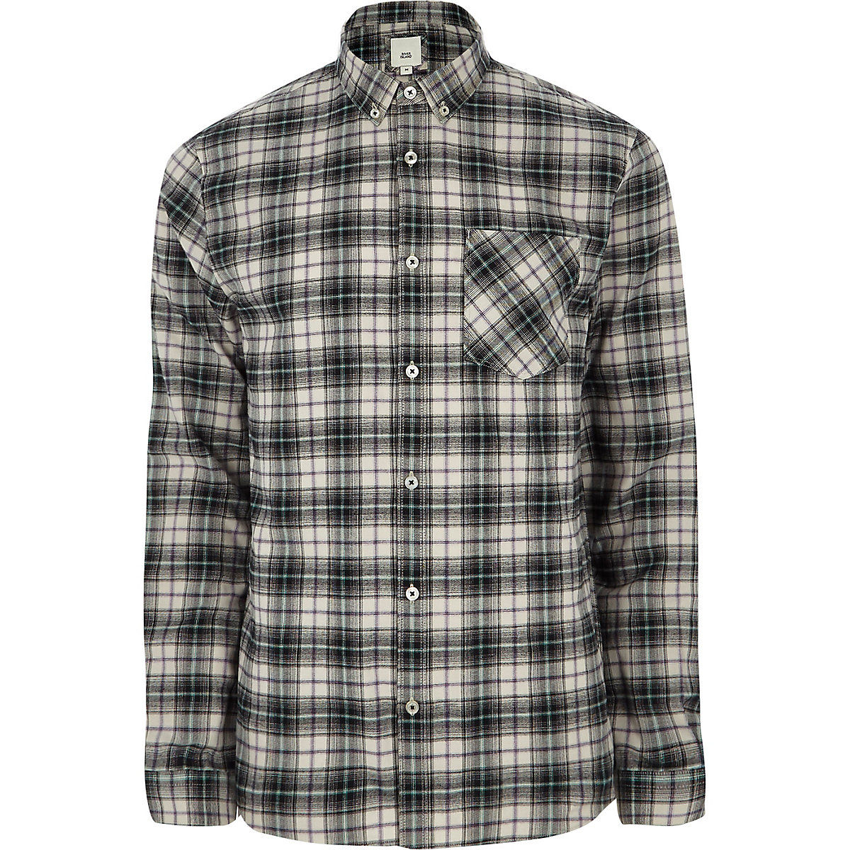 Grey check long sleeve button-down shirt