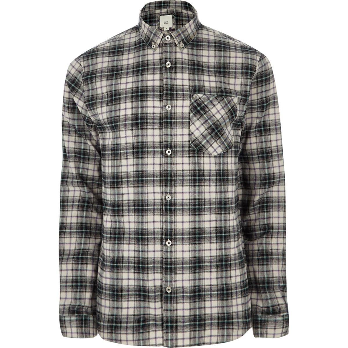 Grey check long sleeve button down shirt long sleeve for Grey button down shirt